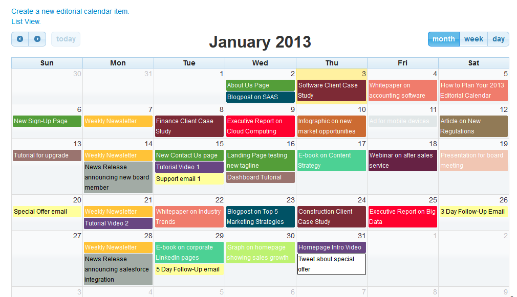 Editorial Calendar For Content Marketing Software By MarketingAI - Sample marketing calendar