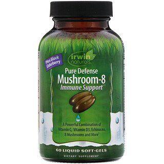 27+ Irwin Naturals, Pure Defense Mushroom 8, Immune Support, 60 Liquid Soft Gels