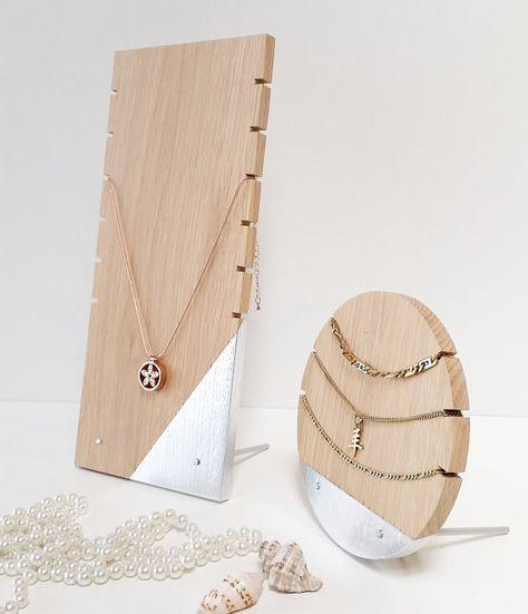 Necklace Display Set For Craftshow Etalage Oak - Silver Version Wood Display