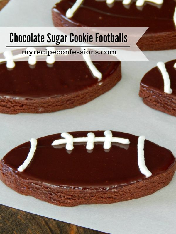Chocolate Sugar Cookie Footballs recipe are a cross between a sugar cookie and a brownie. They are easy to make and perfect for game day!
