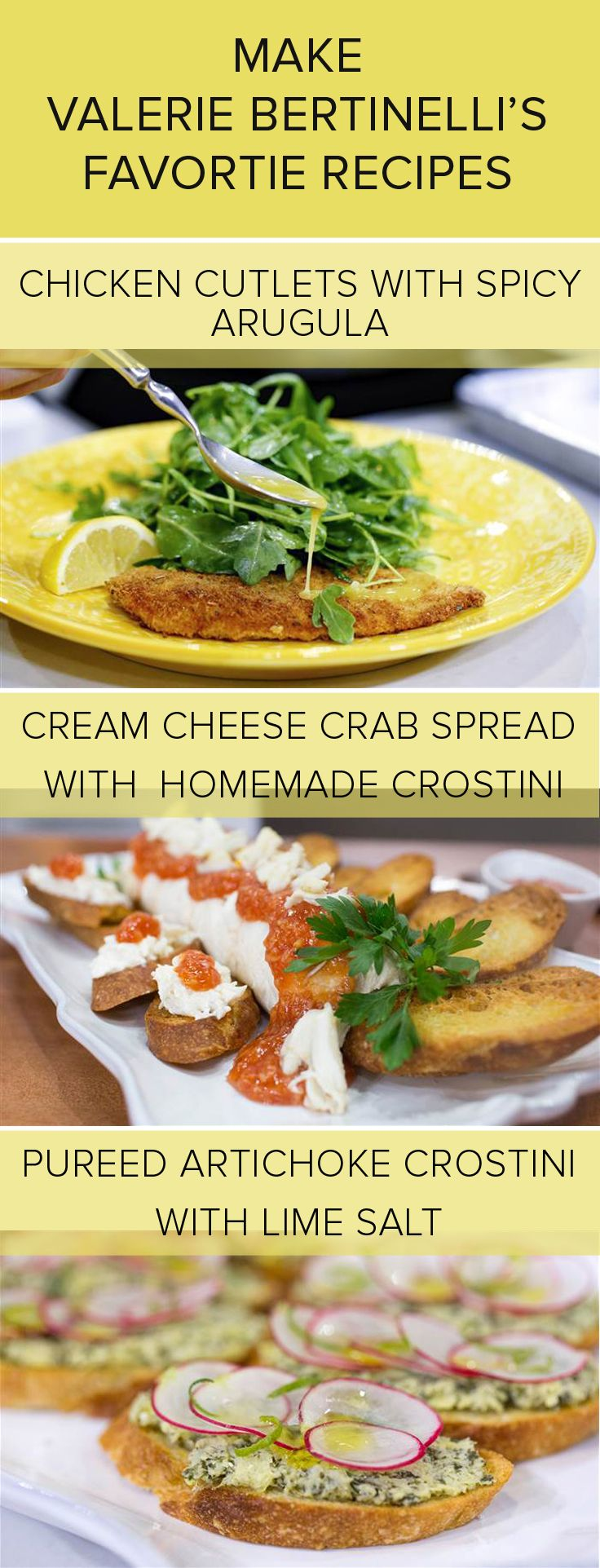 Valerie Bertinelli serves up fave recipes: Chicken cutlets, crostini, crab dip