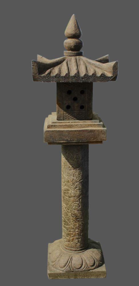 Gro e steinlaterne mit umschlungenen drachen geisterhaus for Gartengestaltung chinesisch