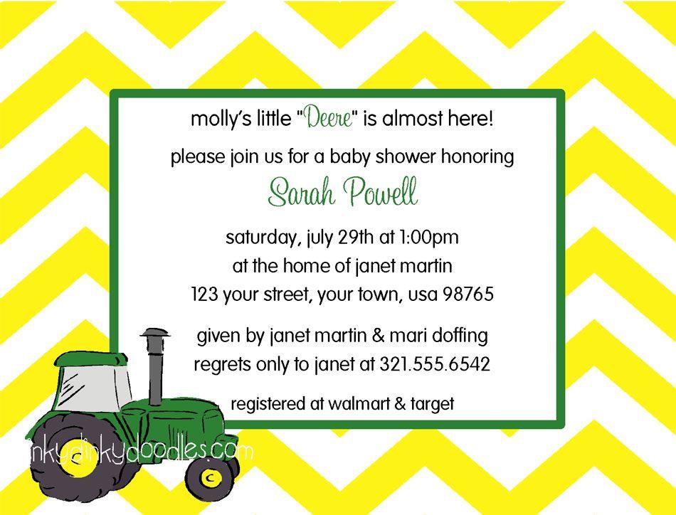 John Deere Baby Shower Invitation | Baby shower | Pinterest | John ...