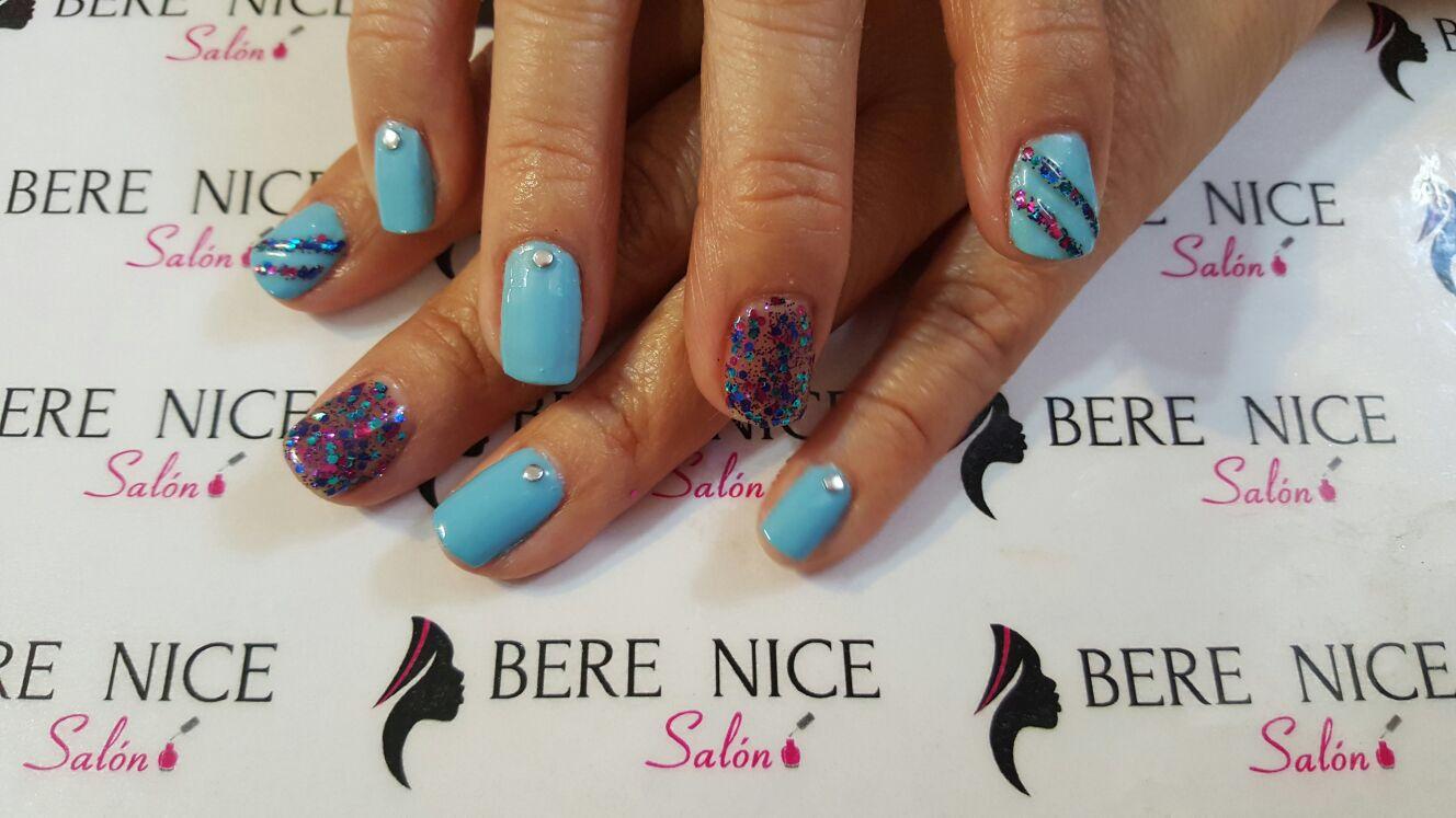 #nails uñas celeste