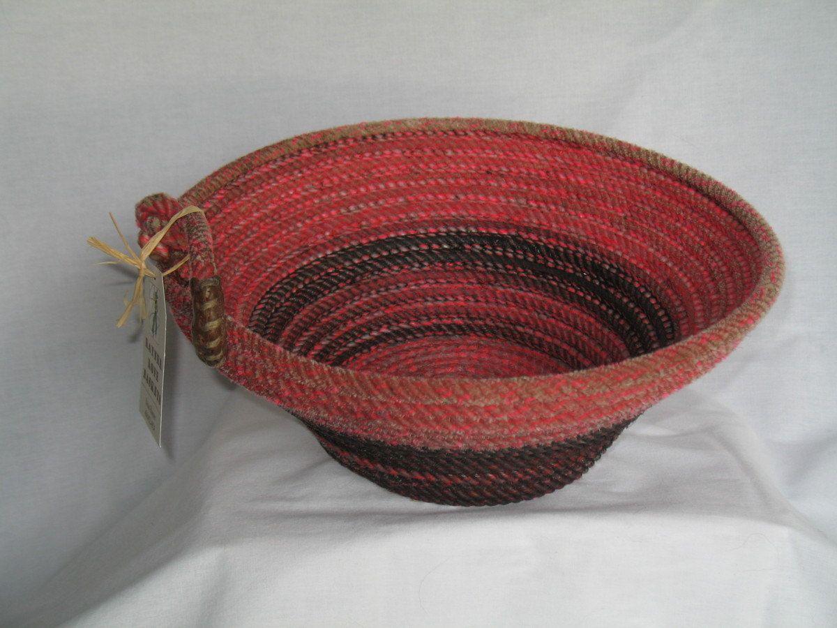 Upcycled handmade lasso rope basket with deer antler by DancingBug, $35.00