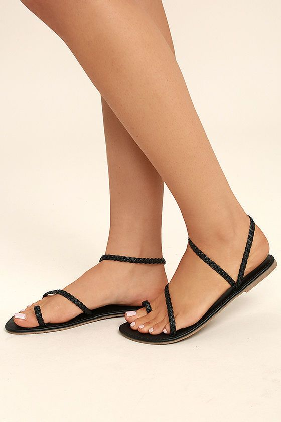 48a33ee08fdbb The Mirela Black Flat Sandals are more than worthy of admiration! Braided  vegan leather forms a toe loop