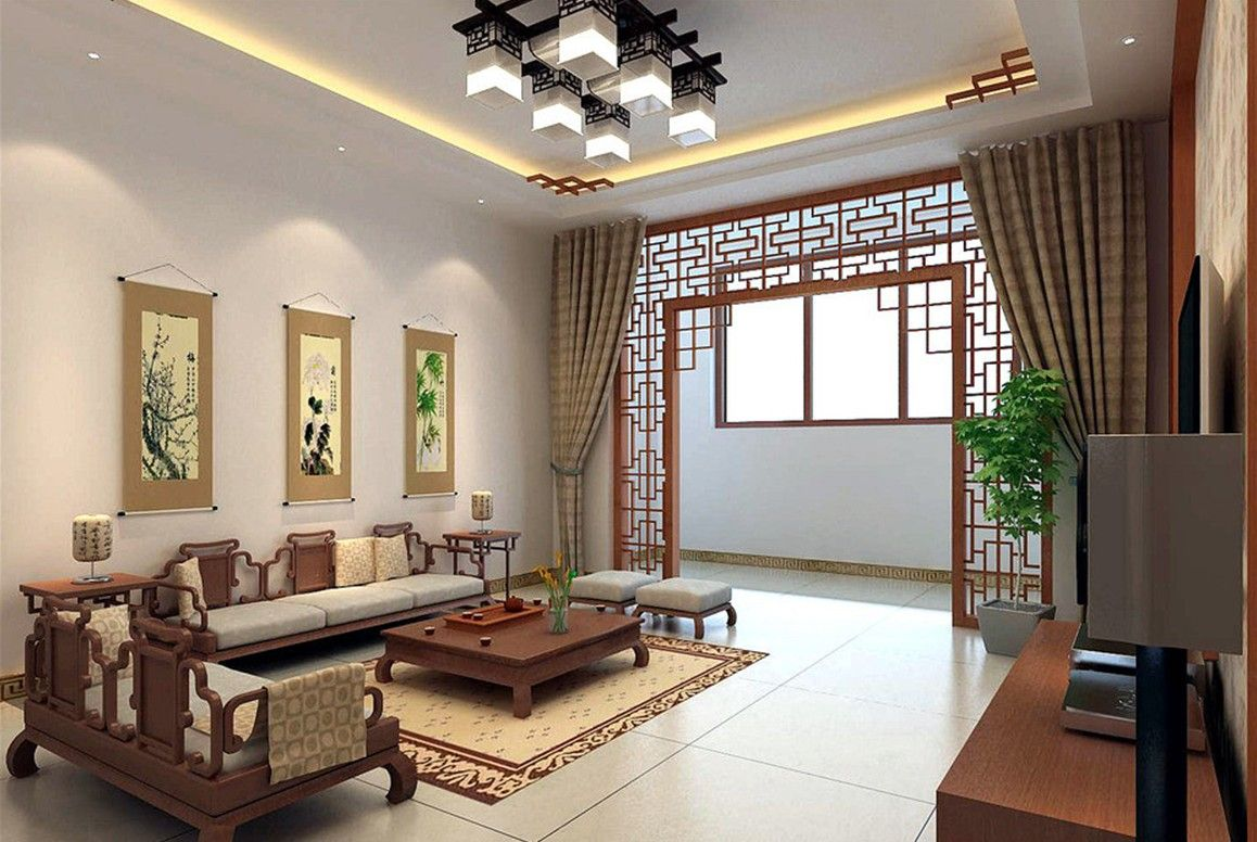 Interior Decorations Living Room Cozy Vintage Chinese Style Design With Wooden Furniture Carved Wood