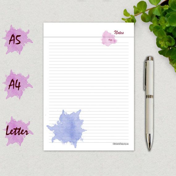 Notes Page Printable, Notes Template, Notebook Page A5, A4, Letter - agenda page template