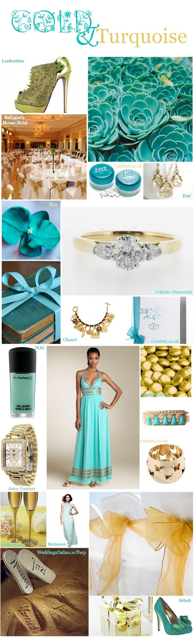 Turquoise and gold..- I\'m looking for a mint w gold but this is ...