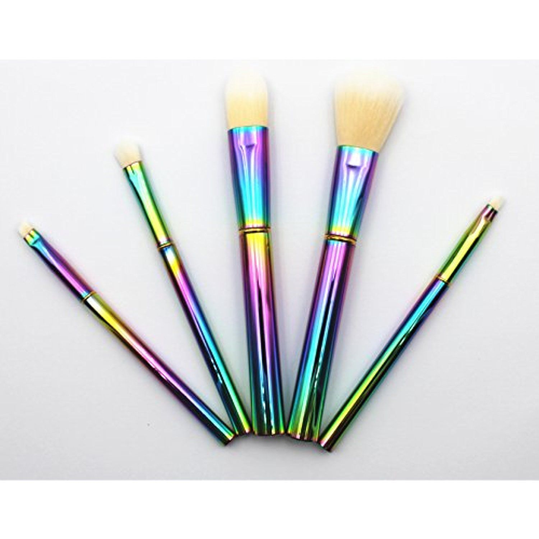 ELEGANT BEAUTY 5 Pieces Rainbow Makeup Brush Set With