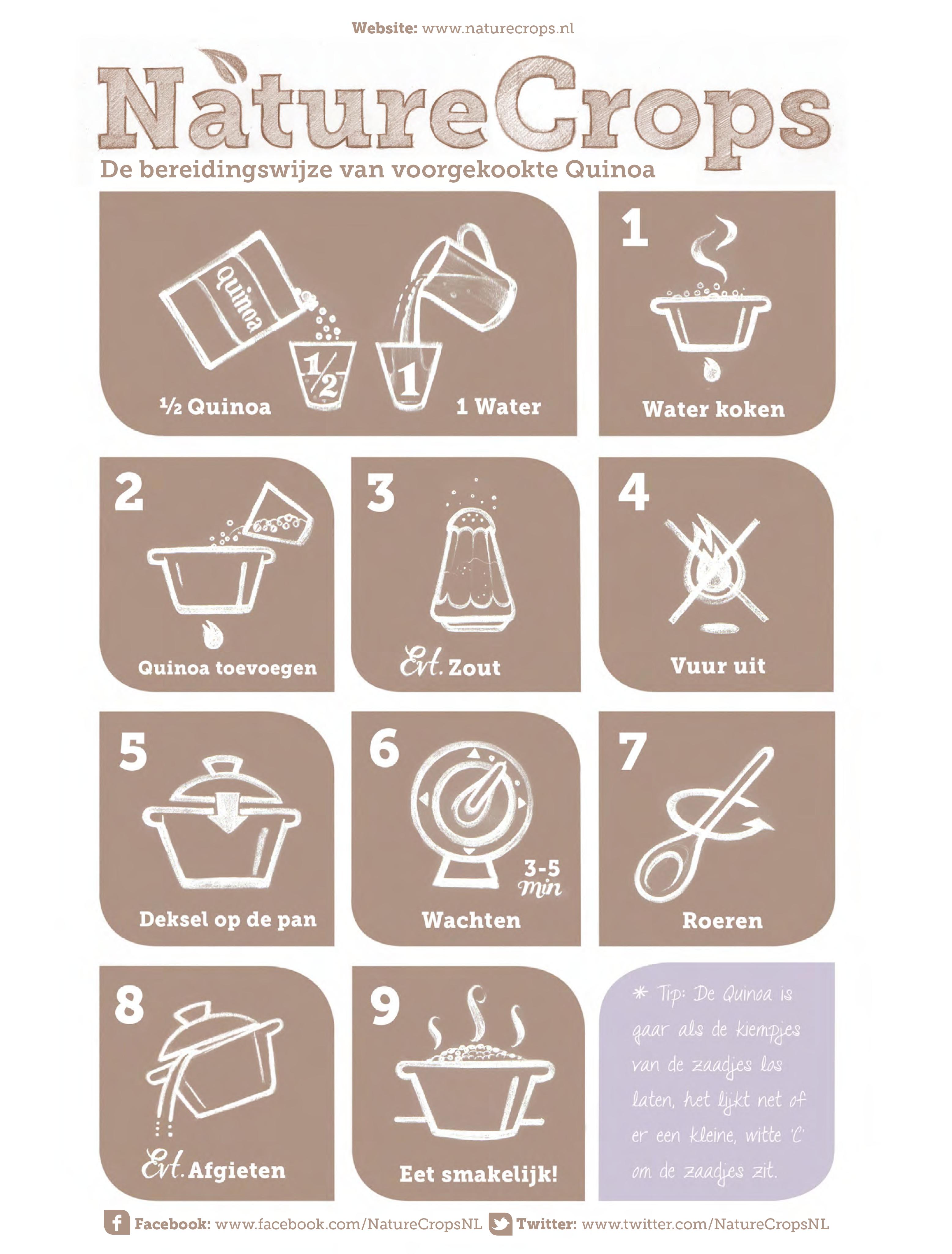 Bereiding van de voorgekookte NatureCrops-Quinoa-zaden