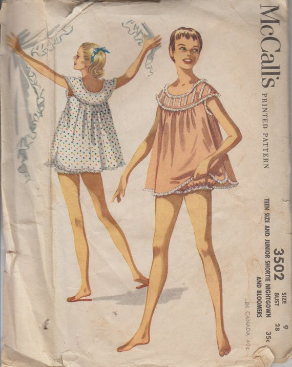 706abe8747 1955 Teen Babydoll Nightgown Pattern