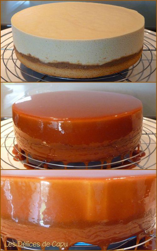 Entremets caramel insert vanille avec pralin for Glacage miroir caramel