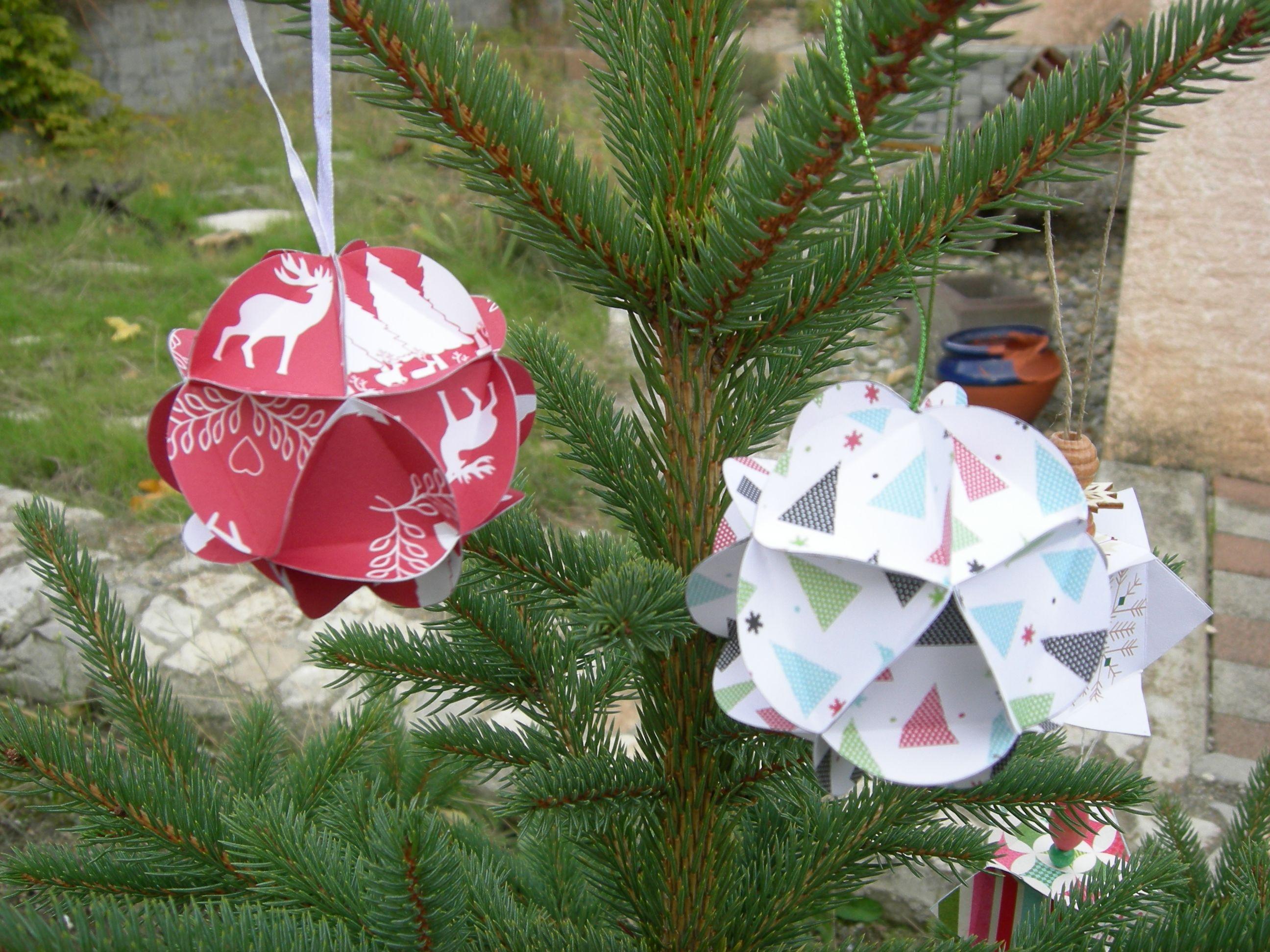 """boules 3 D - tuto """"Instants papiers"""" christmas balls scrap"""