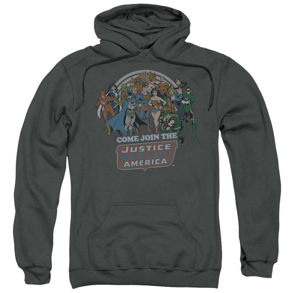 DC/Join The Justice League Adult Pull-Over Hoodie in Charcoal