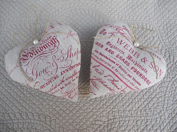 coeurs coussin de porte en lin 2 coeurs à suspendre réalisés dans un