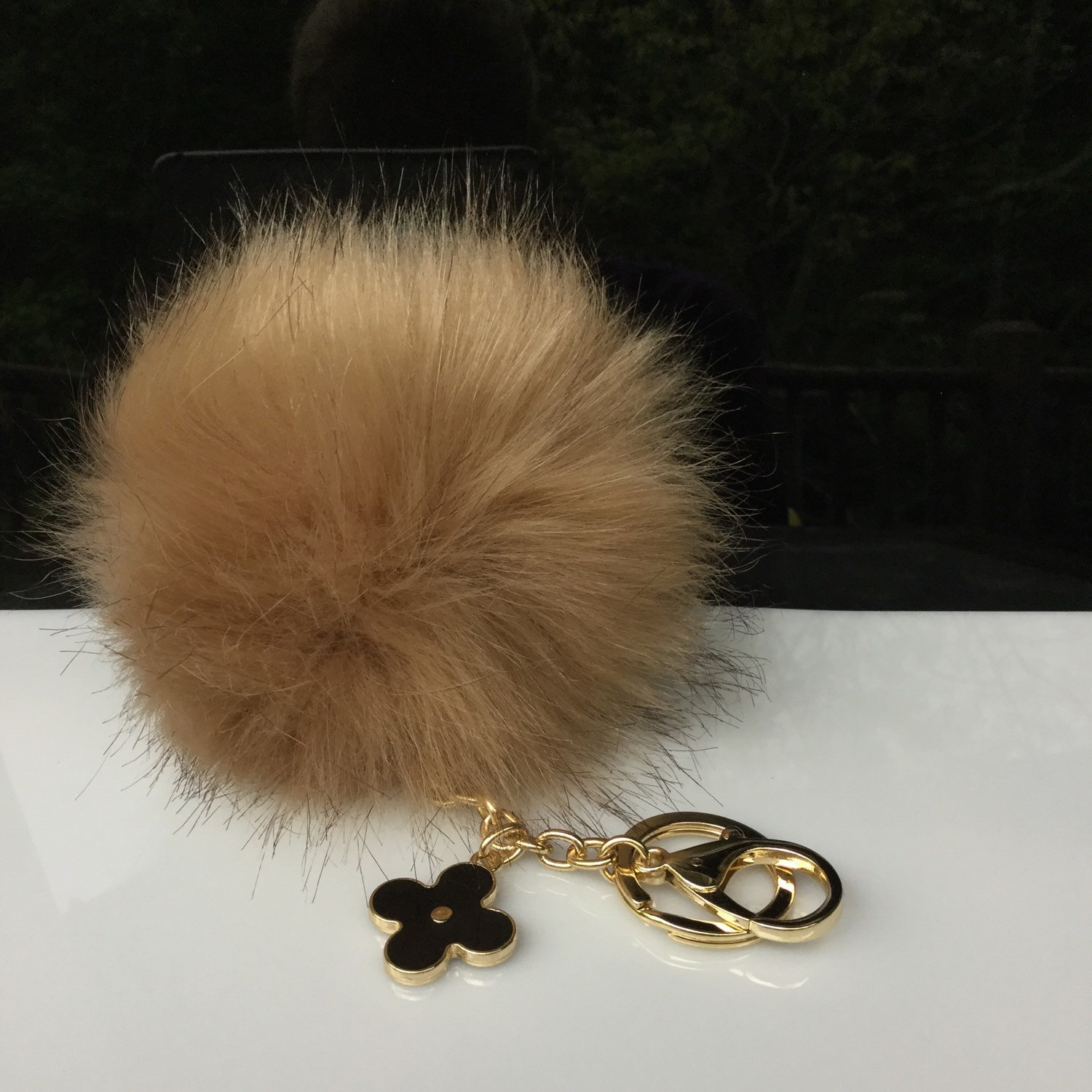 22d9a6312ec5 Faux Fox Fur Pom Pom bag Keyring Hot Couture Novelty keychain pom pom fake  fur ball in beige by on Etsy