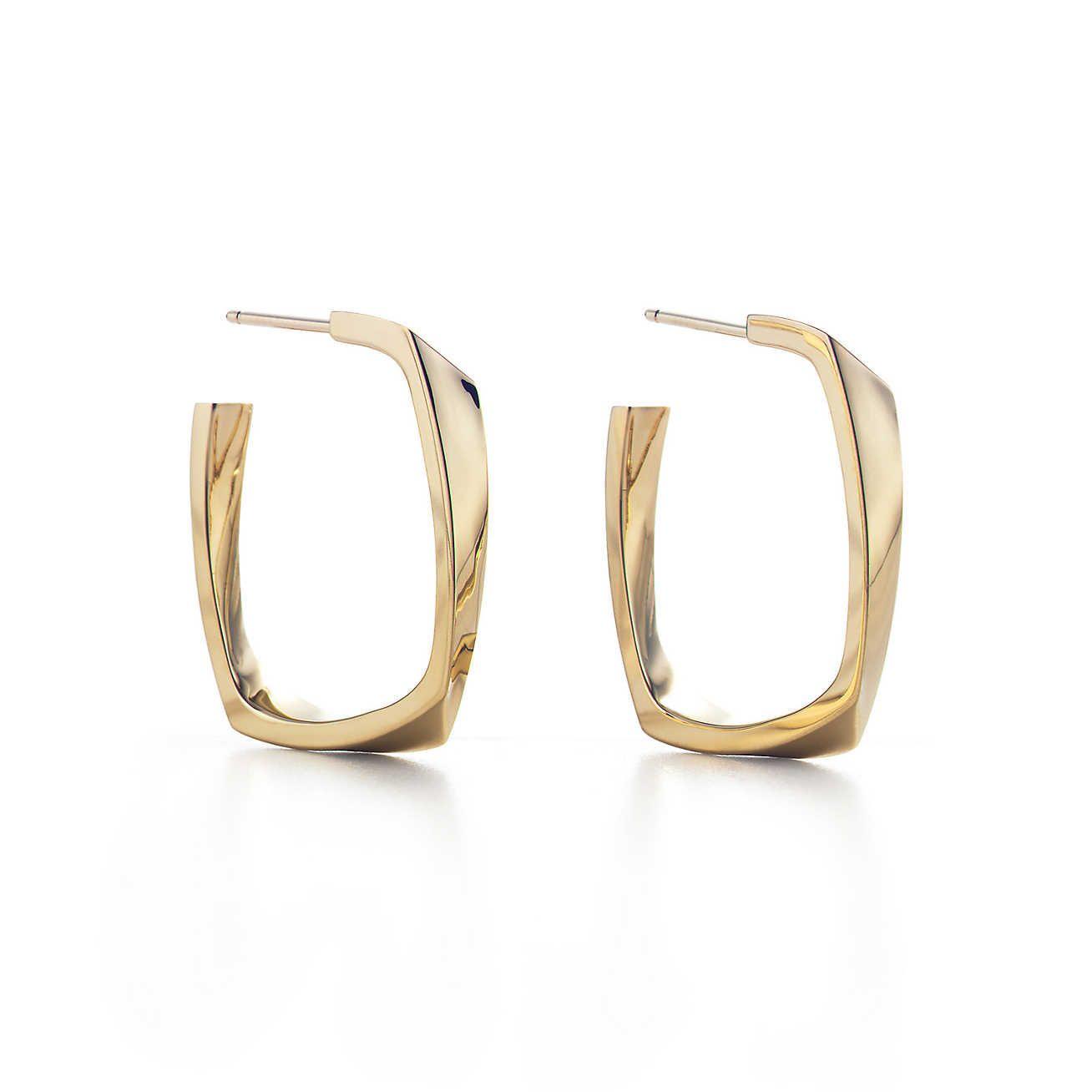 Frank Gehry® Torque hoop earrings in 18k gold, small. | Tiffany & Co