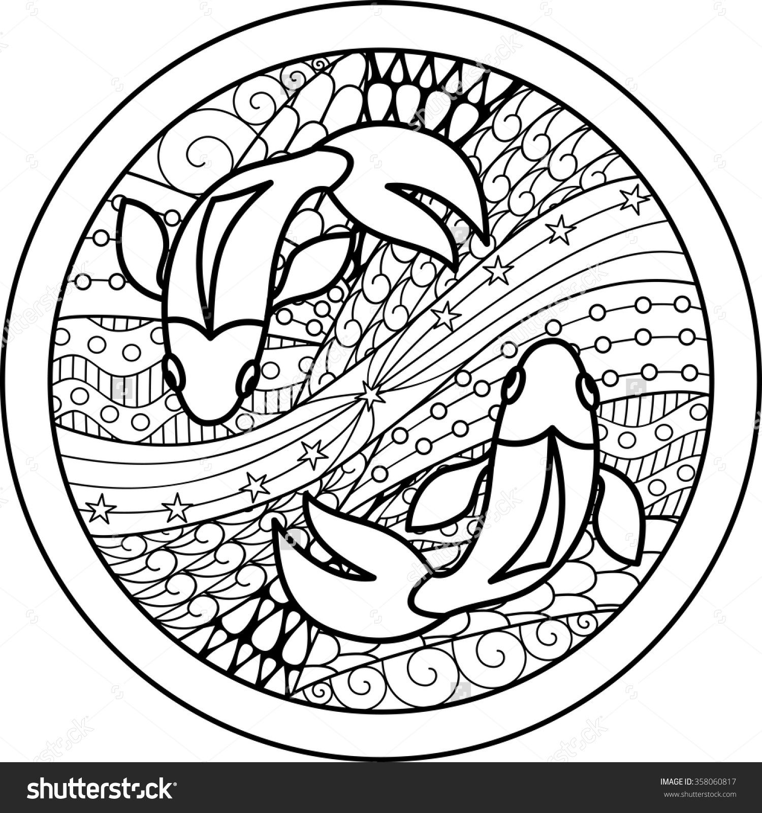 Zodiac Sign Pisces Zentangle
