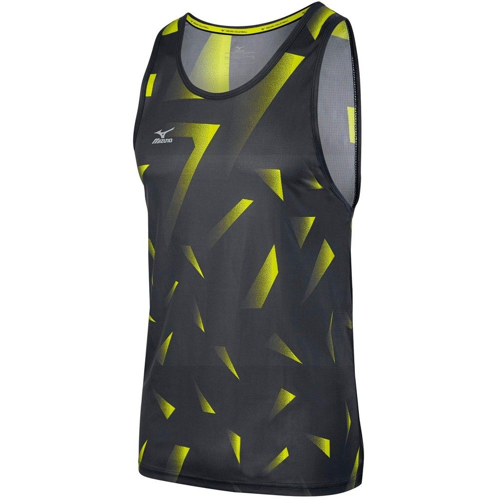 Mizuno Men S Volleyball Copa Tank Top Mens Size Extra Small In Color Charcoal Lemon 9232 Volleyball Jersey Design Athletic Tank Tops Volleyball Outfits