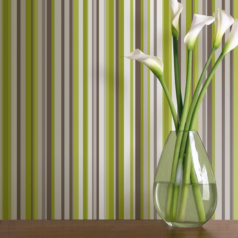 Sophia Green Striped Wallpaper By Arthouse
