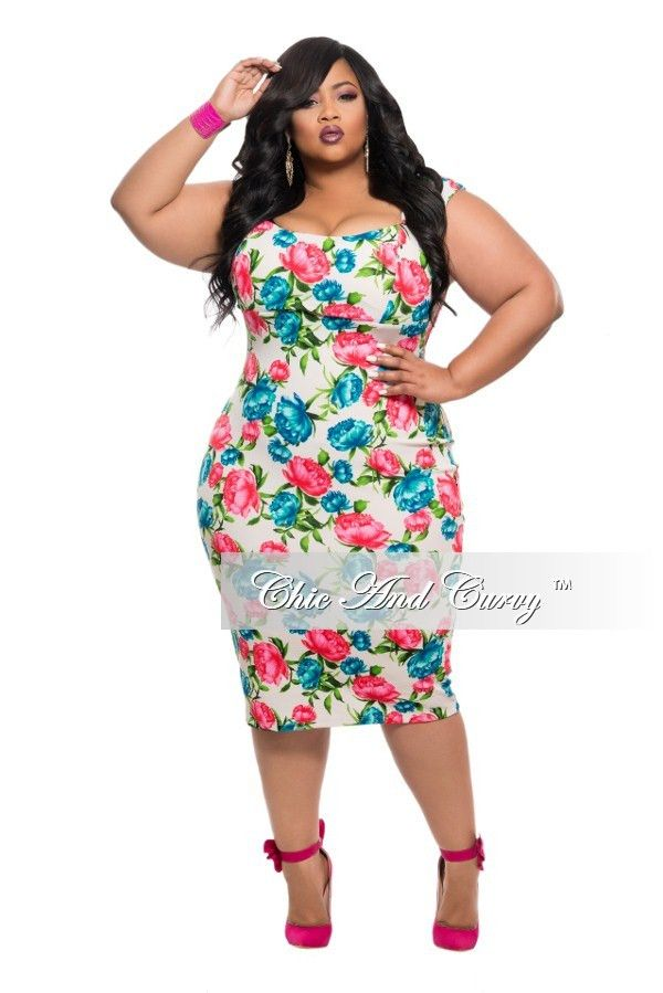 Plus Size Bodycon Dress In White Blue And Redpink Floral Print