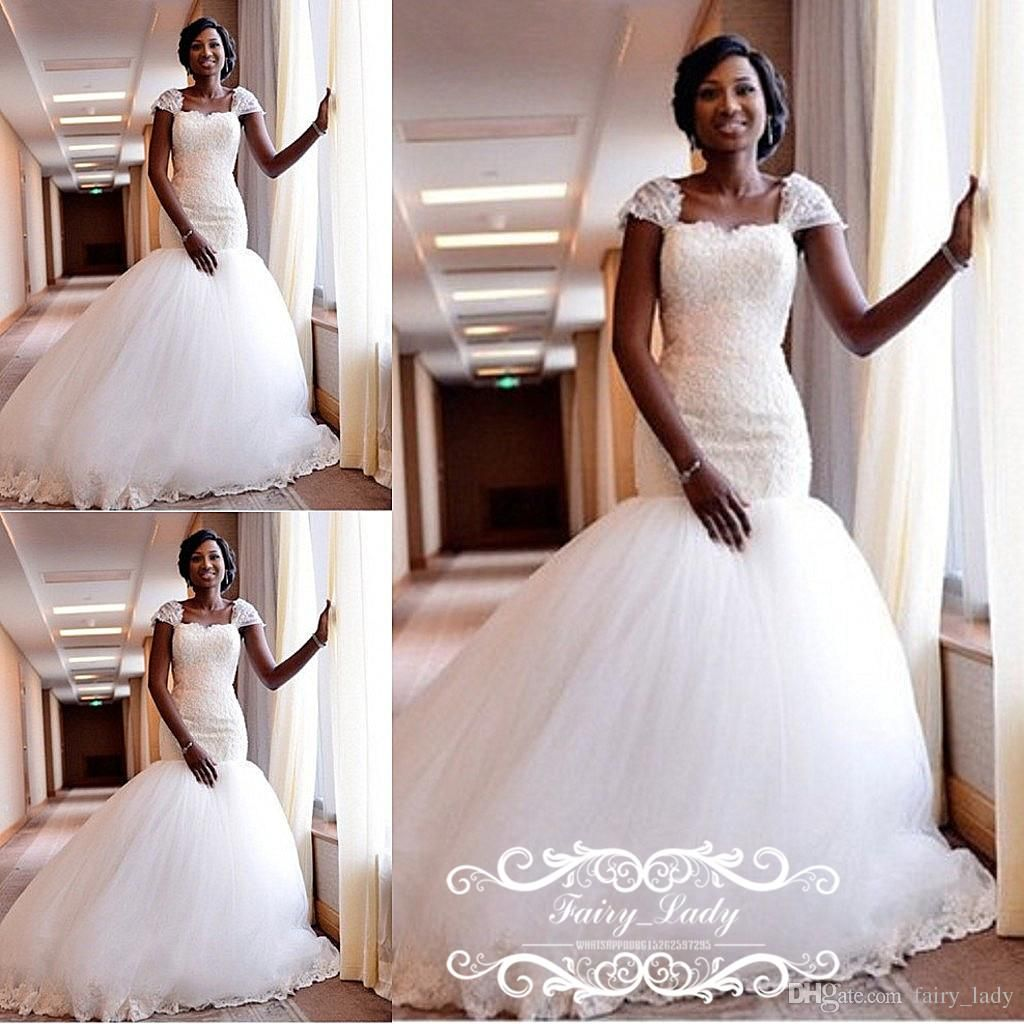 d6e6225b7b4 Vintage Lace Puffy Mermaid Wedding Dresses With Capped Sleeves 2018 Nigeria  African Women Bridal Gown Vestido De Noiva Custom Made