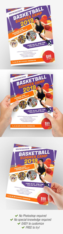 Basketball Summer Camp Flyer Poster Template Idea Brochure Template Brochure Design Template Brochure