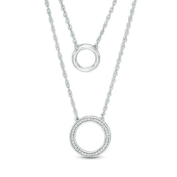 Zales Double Linear Bar Two-Strand Necklace in Sterling Silver - 20 m00If8