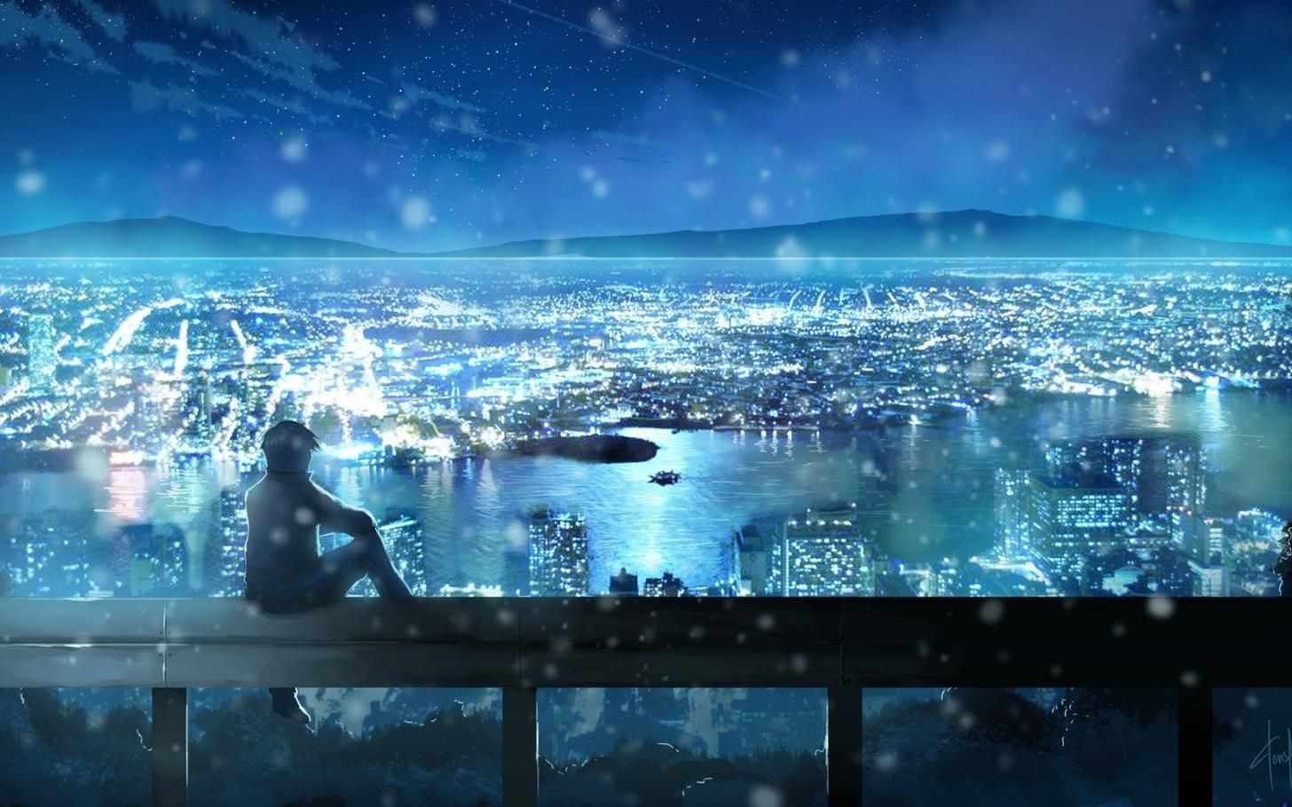 Anime Boy Sitting On Bridge Anime Scenery Anime Scenery Wallpaper Anime City