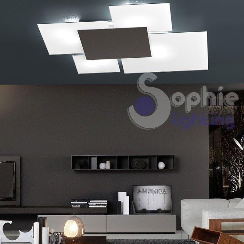 Plafoniera LED design moderno 4 vetri bianco marrone 71x67 soggiorno ...