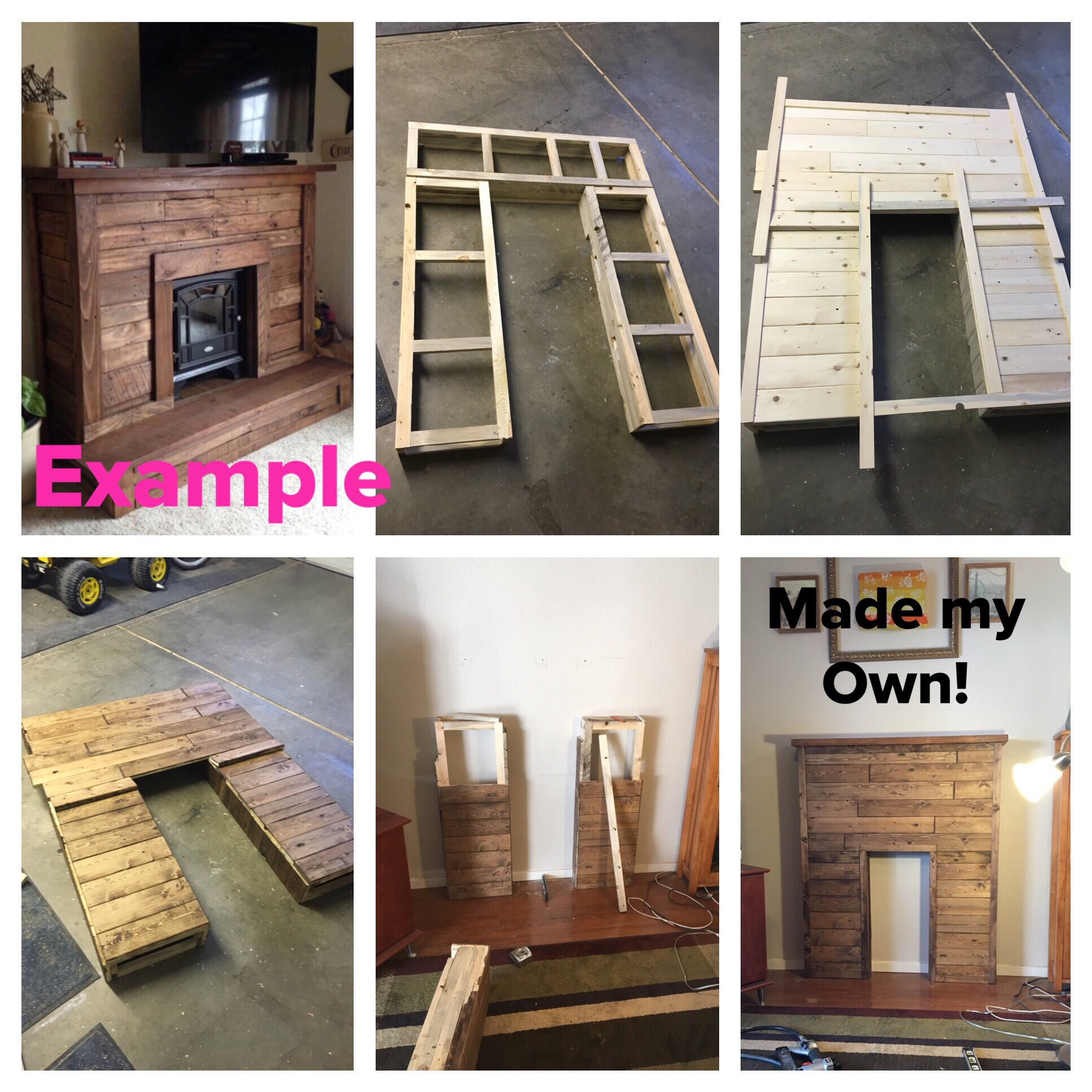 Made my own diy faux fireplace mantel mantle from pallet wood
