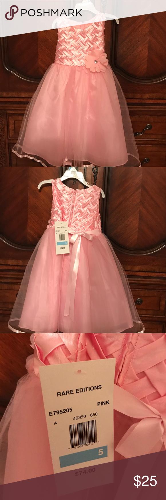 Brandnew formal princess dress pink satin basket weave bodice
