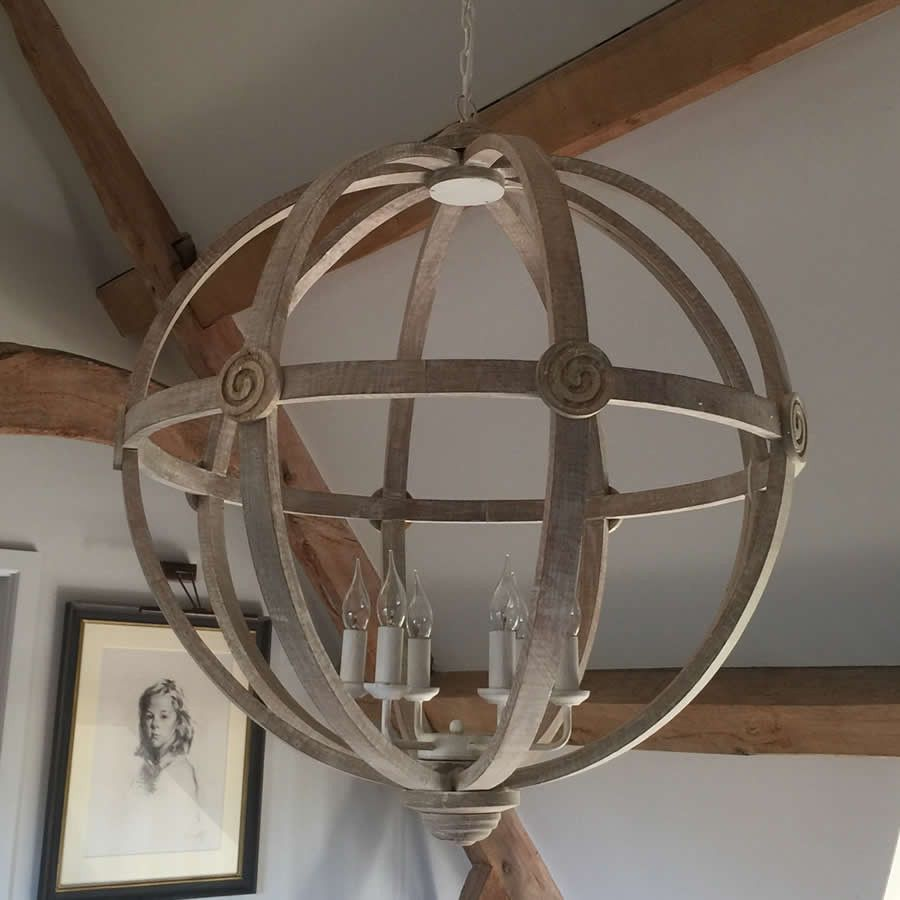 35 Inches About 706 Extra Large Round Wooden Orb Chandelier