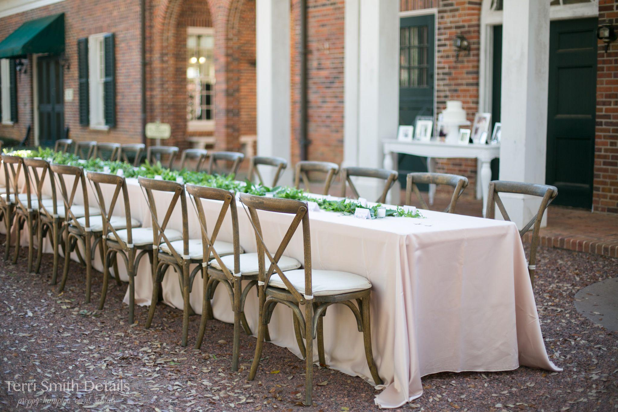 Brown Oak Finish Cross Back Chairs, Outdoor Reception, Wedding Rentals, Pebble  Hill Plantation