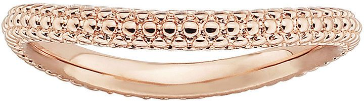 Fine Jewelry Personally Stackable 18K Rose Gold Over Sterling Silver Beaded Dome Wave Ring ML6A4Bd5BI