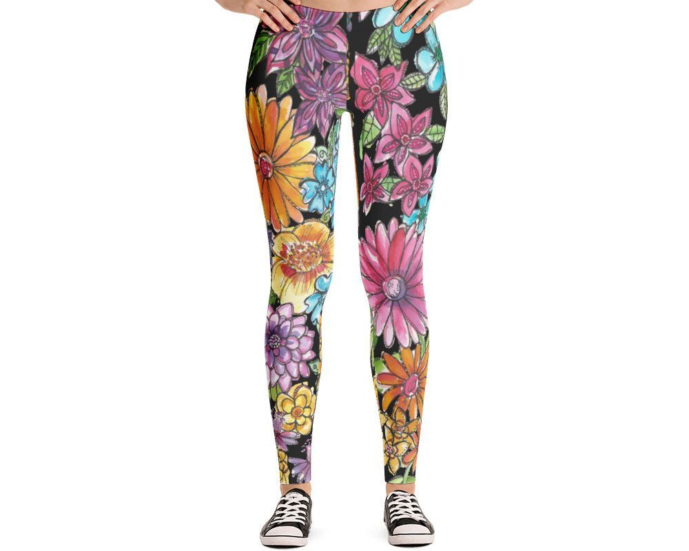 84872c4acc43d2 Yoga leggings for women, designer leggings, exclusive watercolor flower  design on white background that you will not find anywhere else.