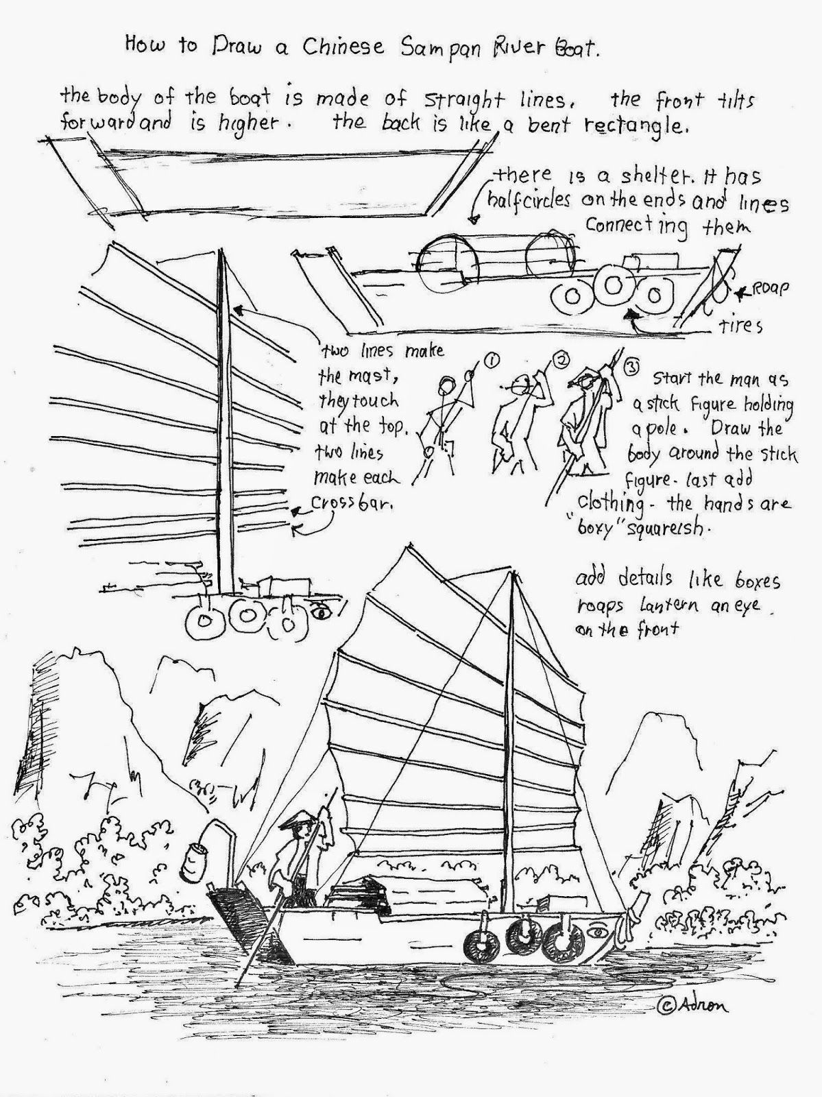 How To Draw A Chinese Sampan River Boat Free Drawing Worksheet How To Draw Worksheets For