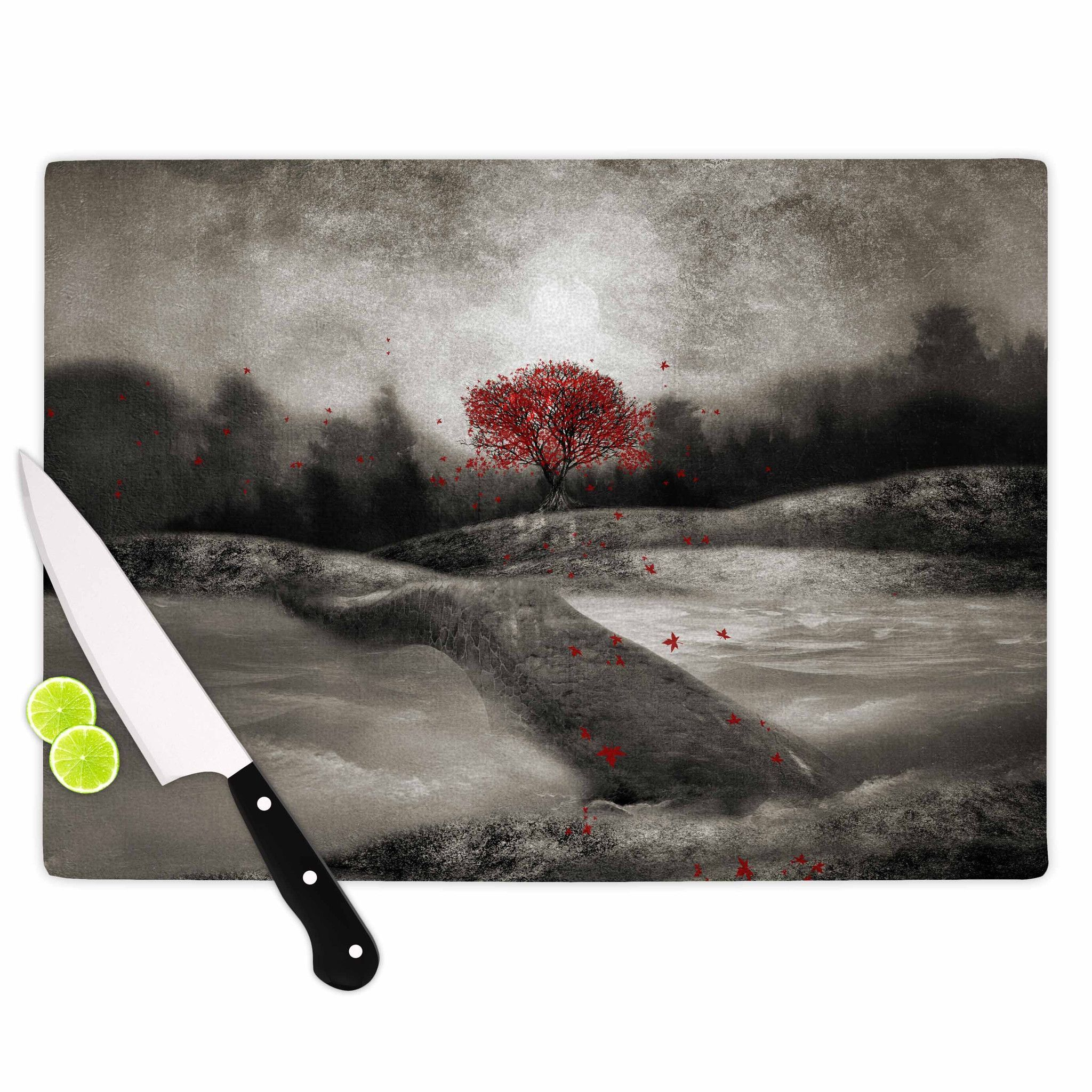 "Viviana Gonzalez ""The Red Sounds And Poems 1"" Black Tree Cutting Board"