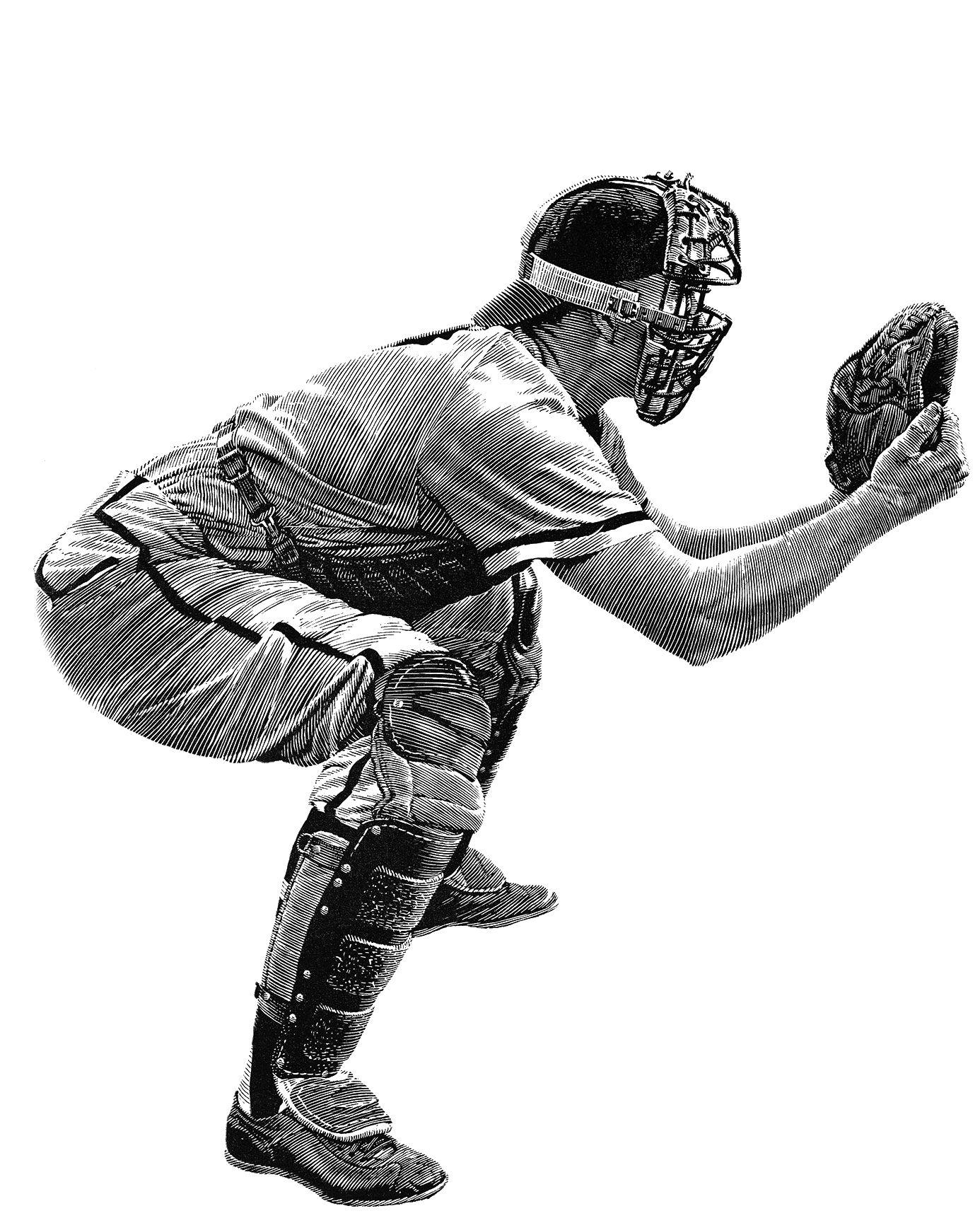 Del Crandall, Milwaukee Braves catcher, illustration by Anthony Ravielli,  1958 | Sports art, Baseball art, Baseball catcher