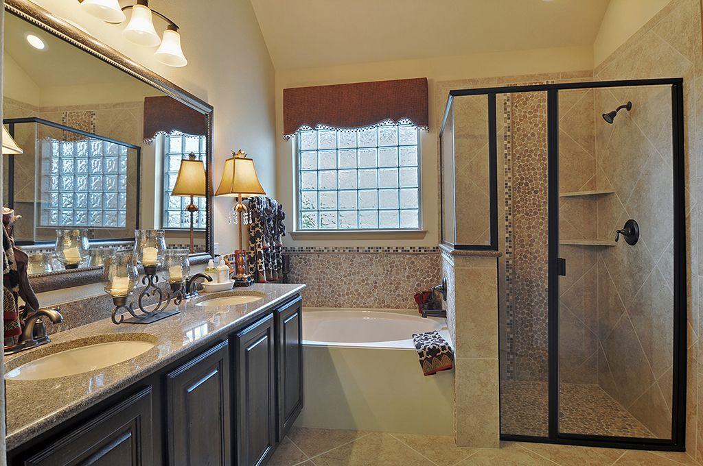 Master Bathroom Dark Cabinets gehan homes master bathroom - oil rubbed bronze hardware, dark