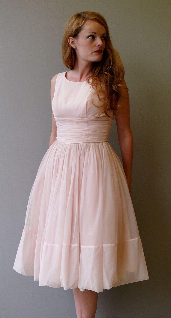 1950s party dress // 50s pink chiffon party dress // The