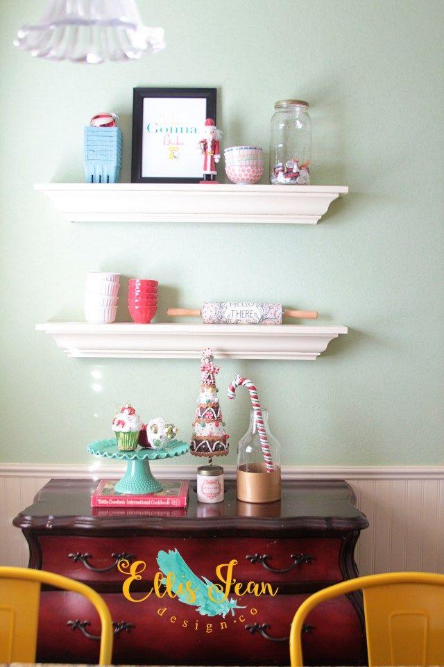 Christmas Decor, Kitchen, Holiday, Holiday Decor, Shelves, Moulding Shelves, Christmas Kitchen