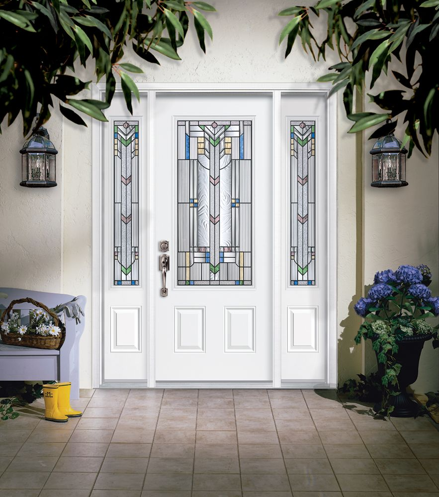 Masonite steel two panel door with monaco glass and for Masonite exterior doors