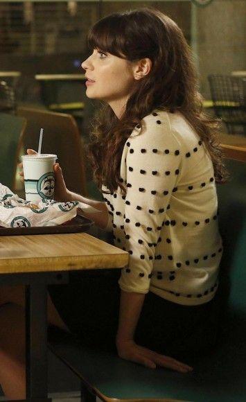 1e4a1bbf9 Zooey Deschanel's White polka dot / tiny pom pom sweater on New Girl.  Outfit Details