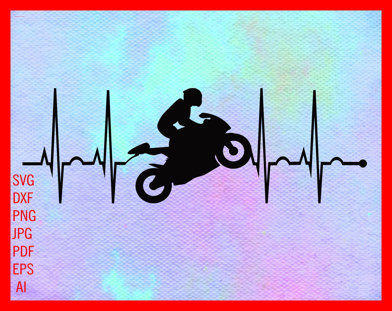Heartbeat Style TShirt Funny Gift Moto Biker Rider Motorbike Biker Rider