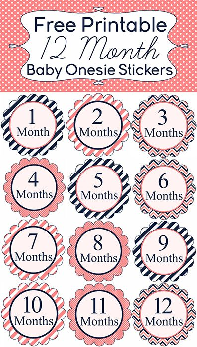 9 Free Printable Monthly Baby Stickers Pretty My Party Baby Month Stickers Baby Month By Month Baby Stickers