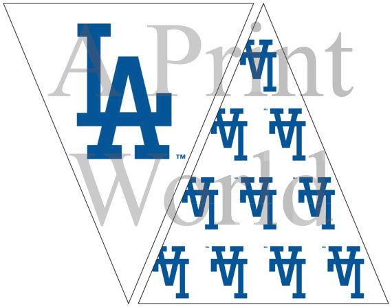 Los Angeles Dodgers Printable Banner Flag Baseball Decor Easy Party