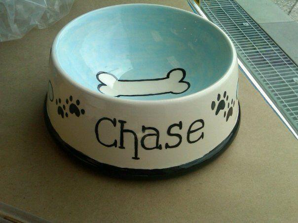 Hand Painted Ceramic Doggie Bowl Ceramic Painting Hand Painted Pottery Ceramic Dog Bowl