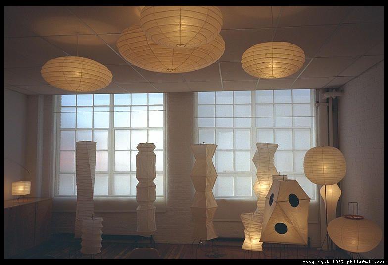 Noguchis akari light sculptures in the upper level of the noguchi museum